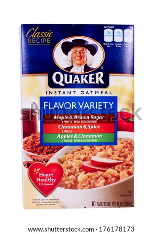 RIVER FALLS,WISCONSIN-FEBRUARY 11,2014: A variety box of Quaker instant Oatmeal. Quaker Oats is an American food company based in Chicago and owned by PepsiCo. - stock photo