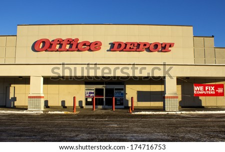 RIVER FALLS,WISCONSIN-FEBRUARY 02,2014: Office Depot storefront. Office Depot is a leading global provider of office related supplies and services. - stock photo