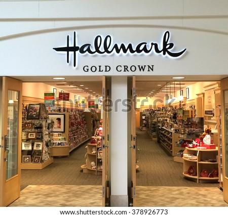 RIVER FALLS,WISCONSIN-FEBRUARY 09,2016: The Hallmark sign and retail store. Hallmark is headquartered in Kansas City,Missouri. - stock photo