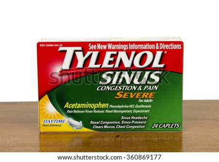 RIVER FALLS,WISCONSIN-JANUARY 06,2016: A box of Tylenol brand sinus congestion medication for adults. - stock photo