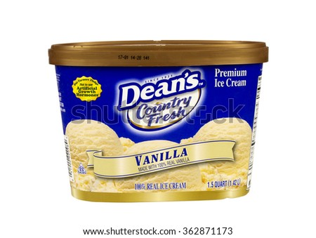 RIVER FALLS,WISCONSIN-JANUARY 15,2016: A container of Dean's brand premium vanilla flavored ice cream. - stock photo