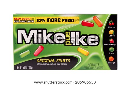 RIVER FALLS,WISCONSIN-JULY 19,2014: A box of Mike and Ike original flavor candy.  Mike and Ike candy was first introduced by Just Born Inc. in the United States. - stock photo