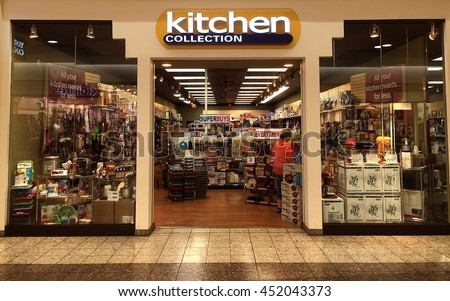 RIVER FALLS,WISCONSIN-JULY 13,2016: The Kitchen Collection sign and storefront. Kitchen Collection has a wide variety of small appliances and accessories for home use. - stock photo
