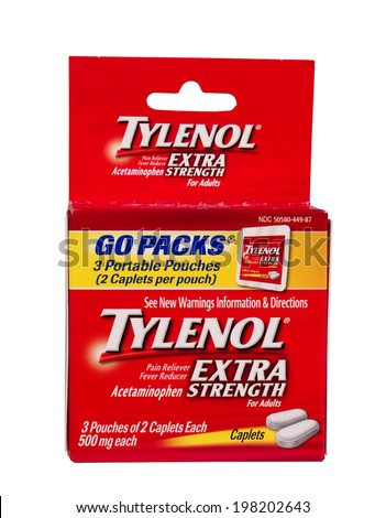 RIVER FALLS,WISCONSIN-JUNE 12, 2014: A box of Tylenol Extra Strength Go Packs. Tylenol is distributed by McNeil Consumer Products Company. - stock photo