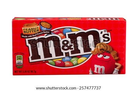 RIVER FALLS,WISCONSIN-MARCH 02,2015: A box of Peanut Butter M&M's candy. This candy is a product of Mars Incorporated. - stock photo