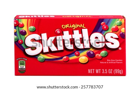 RIVER FALLS,WISCONSIN-MARCH 04,2015: A box of Skittles original flavored candies. Skittles are produced by William Wrigley Jr. Company. - stock photo