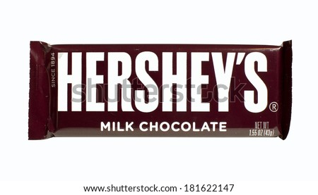 RIVER FALLS,WISCONSIN-MARCH 14, 2014: A single Hershey's Chocolate bar. Hershey's is the largest chocolate manufacturer in North America. - stock photo
