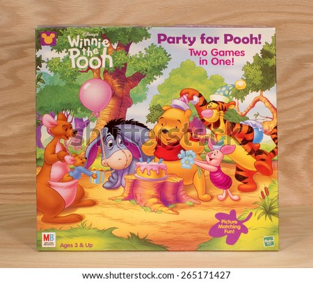 RIVER FALLS,WISCONSIN-MARCH 30,2015: A Winnie the Pooh Party game box by Milton Bradley. - stock photo