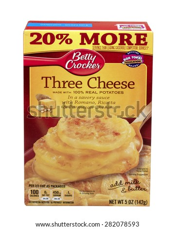 RIVER FALLS,WISCONSIN-MAY28,2015: A box of Betty Crocker brand Three Cheese Potatoes. Betty Crocker is a brand name of General Mills of Golden Valley Minnesota. - stock photo