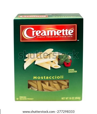 RIVER FALLS,WISCONSIN-MAY12,2015: A box of Creamette brand Mostaccioli pasta. Creamette is a product of New World Pasta Company. - stock photo