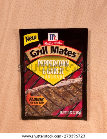 RIVER FALLS,WISCONSIN-MAY16,2015: A packet of McCormick Peppercorn and Garlic marinade. McCormick and Company is headquartered in Sparks,Maryland - stock photo