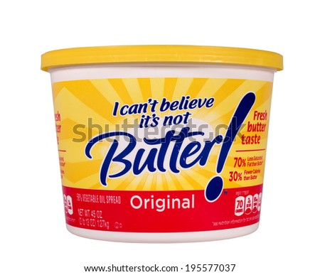 RIVER FALLS,WISCONSIN-MAY 29, 2014: A tub of I Can't Believe It's Not Butter. This product is distributed by Unilever of Englewood Cliffs,New Jersey. - stock photo