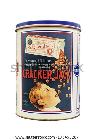 RIVER FALLS,WISCONSIN-MAY 17, 2014: A vintage Cracker Jack tin. The Cracker Jack brand is owned and marketed by Frito-Lay. - stock photo