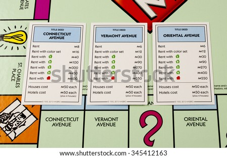RIVER FALLS,WISCONSIN-NOVEMBER28,2015: A closeup view of a Monopoly board featuring Connecticut,Vermont,and Oriental avenues. - stock photo