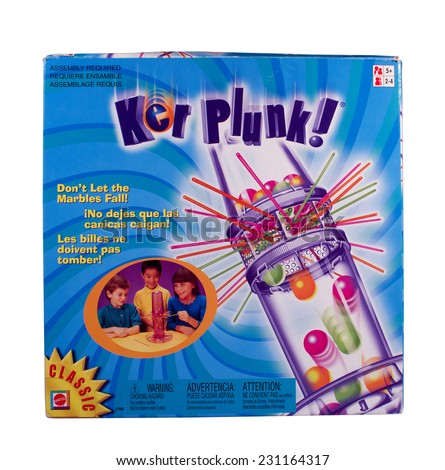 RIVER FALLS,WISCONSIN-NOVEMBER 17,2014: A Kerplunk game by Mattel. Kerplunk was first sold in Nineteen Sixty Seven. - stock photo