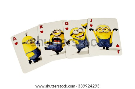 RIVER FALLS,WISCONSIN-NOVEMBER 16,2015: The Minions cards in the Hearts suit. These characters are from the Dispicable Me animated movie. - stock photo