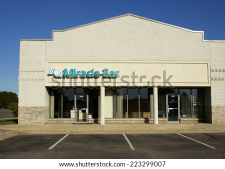 RIVER FALLS, WISCONSIN - OCTOBER 12, 2014: Miracle Ear retail storefront. Miracle Ear is a hearing aid company with numerous retail outlets. - stock photo