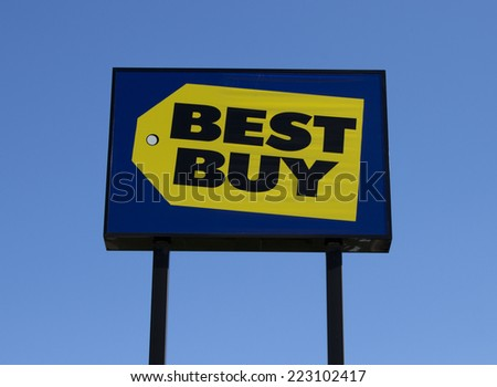 RIVER FALLS, WISCONSIN - OCTOBER 12, 2014: Retail sign for Best Buy Company.Best Buy Company is an American electronics corporation based in Richfield, Minnesota. - stock photo