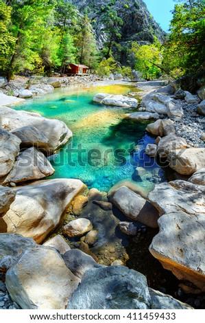 River flowing in canyon, Turkey, Antalya, Kemer. - stock photo