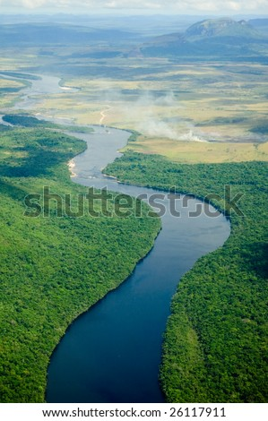 River flowing to the horizon in Venezuela. - stock photo