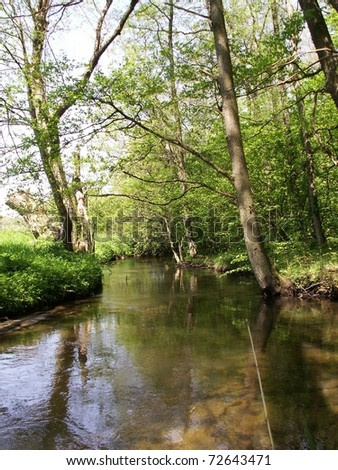 river in green forest - stock photo