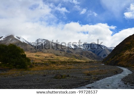 river in the mountain - stock photo