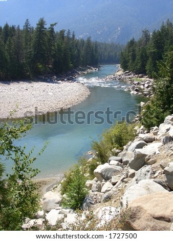 River in the Mountains - stock photo