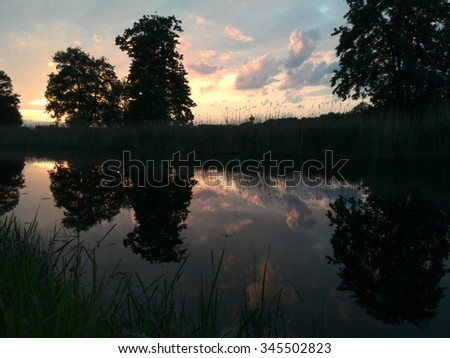 River in the Sunset - stock photo