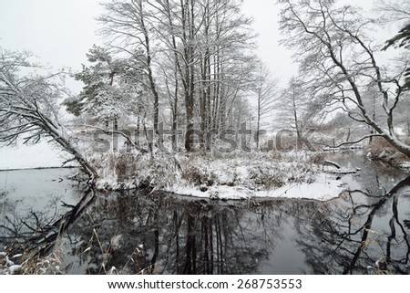 River in the woods covered in snow in winter - stock photo