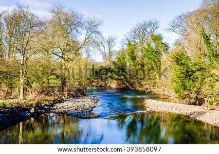 River Kent at Levens Bridge, Cumbria, England  - stock photo
