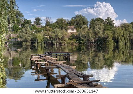 River landscape in summer - stock photo