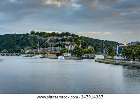 River Meuse as it passes through the city of Namur in the Wallonia Region, southern Belgium - stock photo