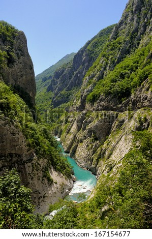 River Moraca, canyon Platije in Montenegro - stock photo
