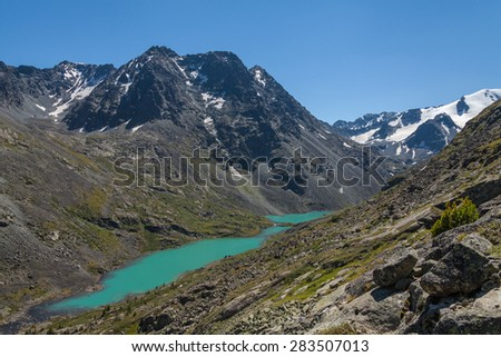 River, mountains - stock photo