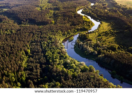 River Neris from above, Lithuania - stock photo