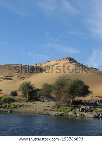 River Nile near Aswan in Egypt, Africa - stock photo