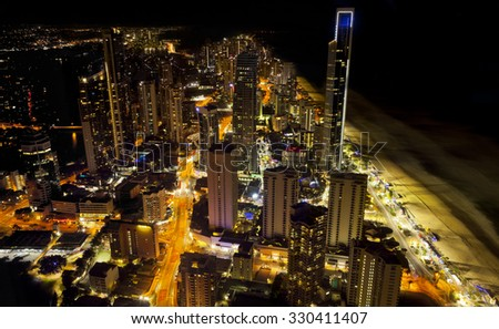 River of light night, Gold Coast, Queensland, Australia. All logos removed. - stock photo