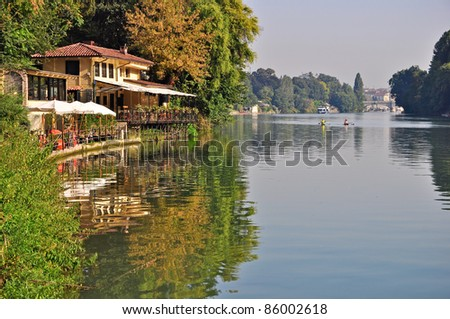 River Po. View from Park of Valentino in Turin. Piedmont. - stock photo