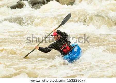 River rafting in kayak, Ecuador , South America - stock photo