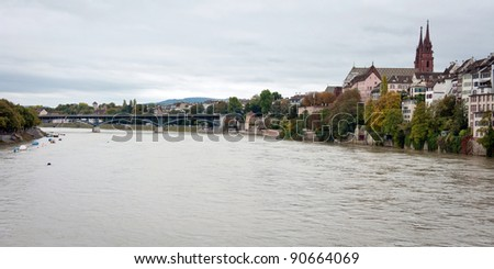 River Rhine in Basel, Switzerland - stock photo