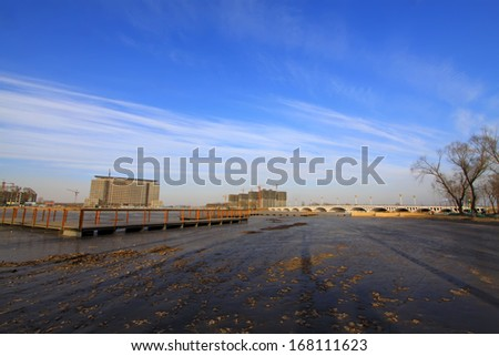 river scenery in a park in winter, north China - stock photo