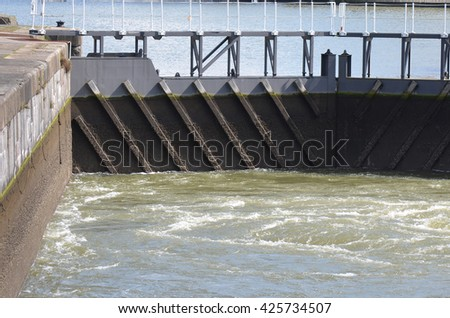 River Sluice Gate Detail - stock photo
