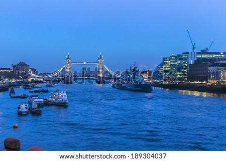 River Thames and Famous Tower Bridge on the backgrounds in the evening. London, Great Britain. - stock photo