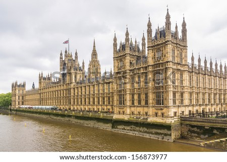 River Thames and Palace of Westminster (known as Houses of Parliament). Palace of Westminster located on Middlesex bank of River Thames in City of Westminster, London. - stock photo