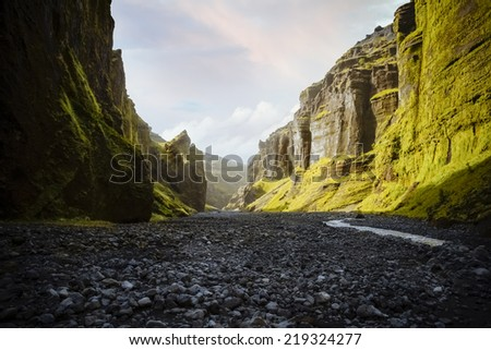 River through a valley in southern Iceland - stock photo