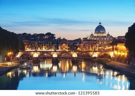 River Tiber in Rome - Italy at night . - stock photo