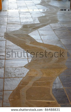 river trail through the Pompeys Pillar National Monument visitor center, in representation of the Lewis & Clark expedition - stock photo