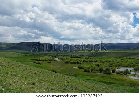 River valley near Woods Landing, Wyoming - stock photo