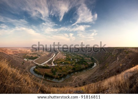 river valley winding through the hills in Moldova - stock photo