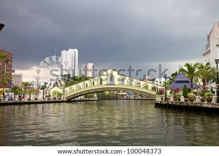 River view of the Old Bus Station Bridge, Malacca Malaysia - stock photo